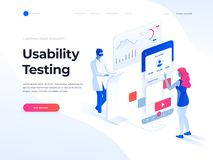 People testing the interface and usability of a mobile application. Isometric illustration. Landing page template. People testing the interface and usability of royalty free illustration