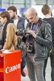 Canon booth during CEE 2017 in Kiev, Ukraine Stock Images