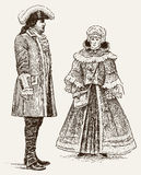 People of 18th century. Vector image of a couple in the historical costumes Royalty Free Illustration