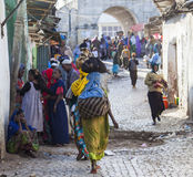 People in their daily routine activities that almost unchanged in more than four hundred years. Harar. Ethiopia. Royalty Free Stock Photography