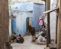 People in their daily routine activities that almost unchanged in more than four hundred years. Harar. Ethiopia. Royalty Free Stock Photos