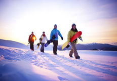 People On Their Way To Snow Boarding Stock Photography