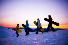 People On Their Way To Snow Boarding Stock Photos