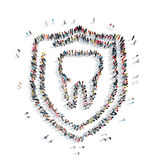 People in theshape of a tooth, dentistry. stock illustration