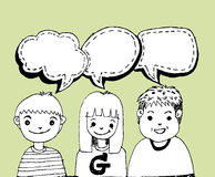 People think and dialog speech bubbles Stock Photo