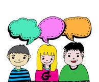 People think and dialog speech bubbles Stock Photos