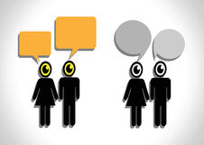People think and dialog speech bubbles Royalty Free Stock Photo