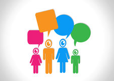 People think and dialog speech bubbles Royalty Free Stock Images