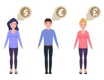 People think about money, dollar, euro, pounds sterling, happy characters. In a cute style royalty free illustration