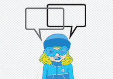 People thinking and peoples talking with  dialog speech bubbles Stock Photos