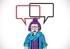 People thinking and peoples talking with dialog speech bubbles Stock Images