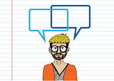People thinking and peoples talking with dialog speech bubbles Stock Image