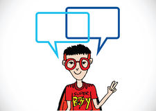 People thinking and peoples talking with dialog speech bubbles Royalty Free Stock Photos