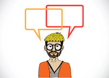 People thinking and peoples talking with dialog speech bubbles Royalty Free Stock Image