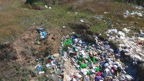 Garbage on pit. Shot by drone stock video footage
