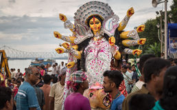 People throng to witness Durga Puja immersion at Babughat, Kolkata. Royalty Free Stock Photos