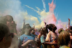 People Throw Color Bombs At Bubble Palooza Event Stock Photo