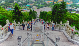 People at tian tan buddha steps Royalty Free Stock Photography