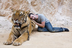 People with tiger temple Royalty Free Stock Images