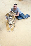 People with tiger temple Royalty Free Stock Photography