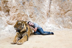 People with tiger temple Royalty Free Stock Photos
