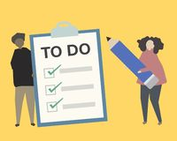 People with to do list illustration vector illustration