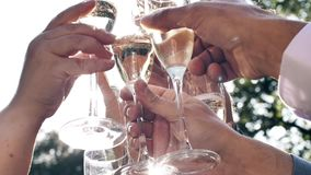 People toasting and drinking champagne on restaurant terrace. Celebrating. Group of people toasting and drinking champagne on the restaurant terrace over sunset stock video footage