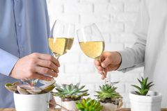 People toasting with glasses of white wine royalty free stock images