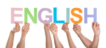 People Together Holding Text English Stock Photography