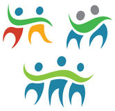 People Together Logo. A group of people logo icon showing a simple hugging group Royalty Free Stock Photo