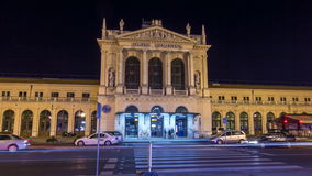 People on the Tomislav Square in front of Main Railway Station night timelapse hyperlapse, main hub of Croatian Railways stock video