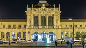 People on the Tomislav Square in front of Main Railway Station night timelapse, main hub of Croatian Railways network stock video