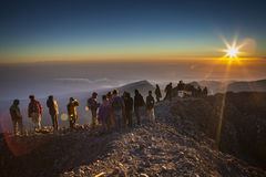 People on the tophill with sunshine Royalty Free Stock Photo
