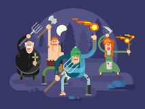 People with torches and pitchforks. Anger character, fire torch, angry and fury, protest villager, illustration Stock Photos