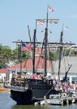 People touring Columbus ships Nina and Pinta. September 3, 2017 South Haven MI USA;Sept 3, 2017 South Haven MI; the Pinta, a Columbus replica, is docked in Royalty Free Stock Images
