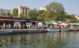 People at Touristic Tomis Port  in Constanta, Romania. Royalty Free Stock Images