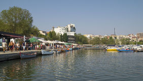 People at Touristic Tomis Port  in Constanta, Romania. Stock Image