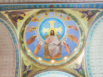 Inside dome mozaic of jesus at st. Mina Cathedral at Egypt Royalty Free Stock Images