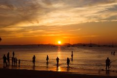 People, tourists enjoy a gorgeous sunset on a tropical beach. Silhouettes of people are all watching the sun. Golden tones. The stock photos