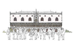 People and tourists in front of Doge's palace in Venice, Sketch Royalty Free Stock Image