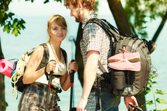 People tourists hiking backpacking outdoor. Royalty Free Stock Image