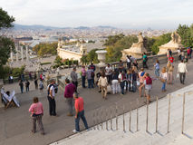People and tourists at the National Museum of Art of Catalonia Stock Photo