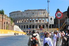 People and tourists stroll at Rome stock image