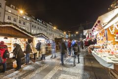 2017 - People and tourists visiting the christmas markets at the Wenceslas square in Prague Stock Photos