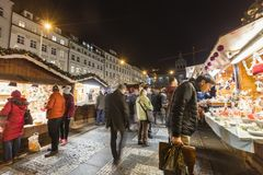 2017 - People and tourists visiting the christmas markets at the Wenceslas square in Prague Stock Photography
