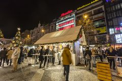 2017 - People and tourists visiting the christmas markets at the Wenceslas square in Prague Royalty Free Stock Photos