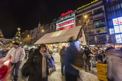 2017 - People and tourists visiting the christmas markets at the Wenceslas square in Prague Stock Image