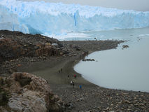 People toward the Perito Moreno glacier. Royalty Free Stock Images