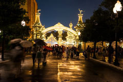 People at Toy Story Mania entrance at Disney sea Royalty Free Stock Images