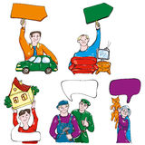People trade. Different goods and services offered Royalty Free Stock Photo